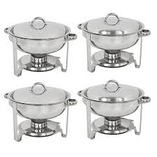 zeny set of 4 round chafing dish 5 quart stainless steel full size