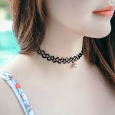tattoo chokers necklace images Silver tattoo choker necklace flower mini cross jpg