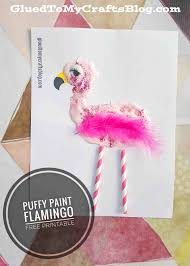 puffy paint flamingo kid craft idea w free printable glued to