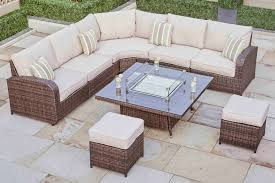 Rattan Settee Ledbury 30 Rattan Corner Sofa With Gas Firepit Coffee Table