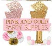 Gold And Pink Party Decorations Princess Party Supplies Dollar Tree Home Decor Disney Favors