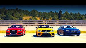 bmw vs audi race mercedes c63 amg vs bmw m6 vs audi rs6 avant drag race
