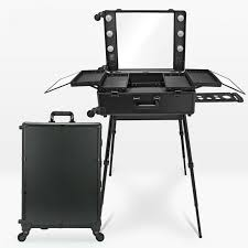 makeup case with lights and mirror 3 types professional makeup station artist rolling case led lighted