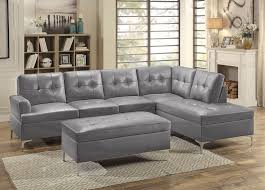 Leather Modern Sectional Sofa Grey Leather Sectional Sofa