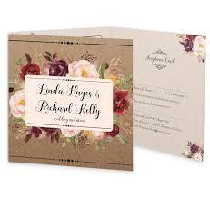 wedding invitations kilkenny burgundy boho tri fold wedding invite with rsvp loving invitations