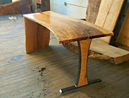 Cherry Desk Hand Crafted Cherry Desk With Waterfall Edge And Steel Leg By