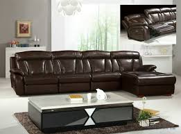 L Shaped Sofa With Recliner Grand Brown Genuine Leather Large L Shaped Recliner Sofa Set Y