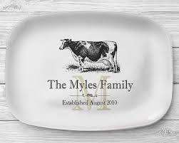 personalized serving trays platters melamine cow platter personalized black and white cow serving
