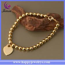 gold bracelet with heart charms images Beautiful beads bracelet with heart charms rose gold plated silver jpg