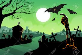 zombie dead skeleton hand from ground vampire bat halloween banner