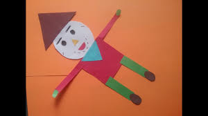 how to make scarecrow with basic shapes kids project work with