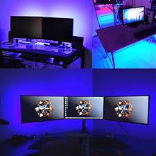 purple led lights for computers computer desk led lights airgoo music rainbow led light strip kit