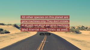 The Meme Machine Susan Blackmore - susan blackmore quote all other species on this planet are gene