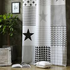Drapes Black And White Black And White Star Print Poly Cotton Blend Custom Kids Curtains