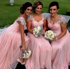 pink bridesmaid dresses pink prom dress 2017 prom dress with cap modsele