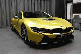 modified bmw i8 bmw i8 yellow color modified into gtr racing sports car edition