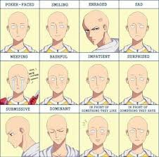 Different Meme Faces - saitama different emotions faces text one punch man one