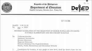 guidelines on the selection of honor pupils and students