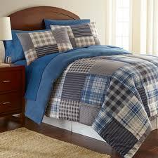 blue twin bedding micro flannel smokey mountain plaid 3 piece twin comforter set