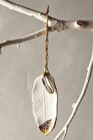 gold flecked feather ornament anthropologie