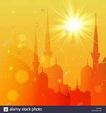 Eid Card Design Vector Illustration Of Mosque Eid Mubarak Greeting Card Design