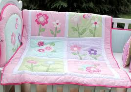 4 pcs cotton baby bedding set embroidery pink flower