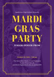 purple mardi gras purple and yellow mask mardi gras prom poster templates by canva