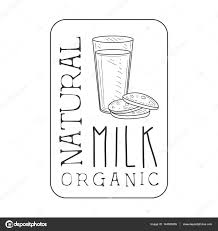 natural fresh milk product promo sign in sketch style with glass
