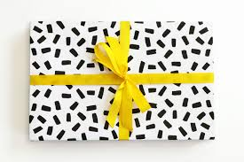 Gift Wrap Wholesale - black and white grid gift wrap yellow color block wrapping paper