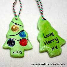 Easy Christmas Tree Decorations Salt Dough Fingerprint Christmas Tree Messy Little Monster