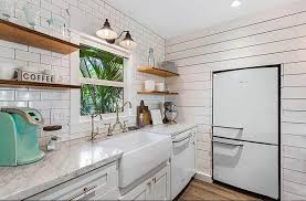shiplap kitchen backsplash with cabinets shiplap kitchens design ideas designing idea