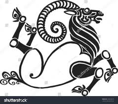 running twisted goat style scythian tattoos stock vector 235530679