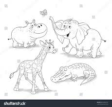 small set baby african animals cute stock illustration 369846242