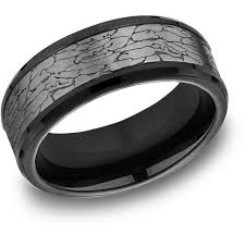 mens black titanium wedding rings tantalum black titanium 8mm comfort fit fractured rock design band