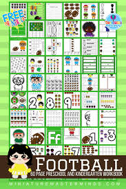 60 page preschool and kindergarten football themed free printable