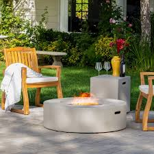 Patio Table With Built In Fire Pit - wade logan olivet gas fire pit table with tank holder u0026 reviews