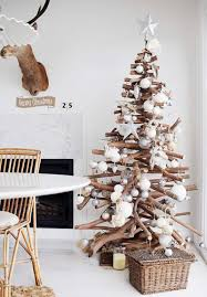 tree branches and pallets for christmas decorations