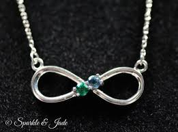 infinity necklace silver images Birthstone personalized infinity necklace with up to 5 stones jpg