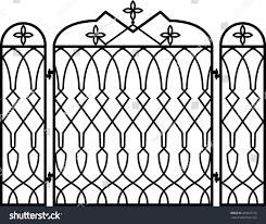 wrought iron fireplace screen vector illustration stock vector