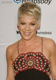 neckline photo of women wth shrt hair pink boyish short hairstyle with the ears and neck exposed