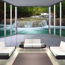 waterfalls wall mural window promotion shop for promotional custom photo wallpaper 3d window forest waterfall landscape background wall painting bedroom study living room mural wall paper