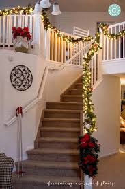 Handrail Christmas Decorations Christmas Home Tour Staircase And Living Room Sweet C U0027s Designs