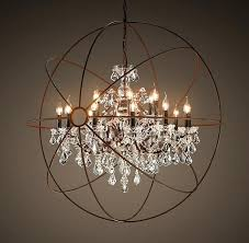 Rustic Chandeliers With Crystals Spacious Copy Cat Chic Restoration Hardware Foucault S Orb