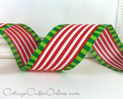 christmas wired ribbon christmas wired ribbon 2 1 2 white stripe lime