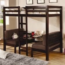 khaki solid wood loft bunk bed built in study table and wardrobe