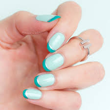 double french tip nails in mint and silver