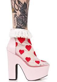 sugar thrillz heart printed high heels dolls kill