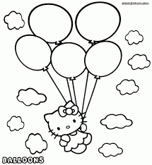 kitty balloons coloring printable pages