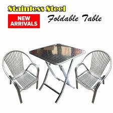 stainless steel folding table qoo10 folding table furniture deco