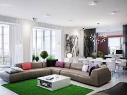 white wall decoration with brown sofa with colorful cushions and